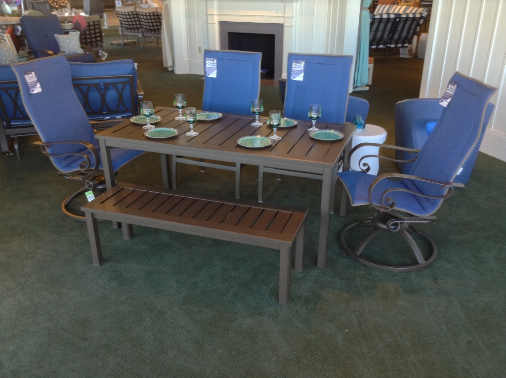 Emory Padded Sling Dining Set with Dockside Dining Table