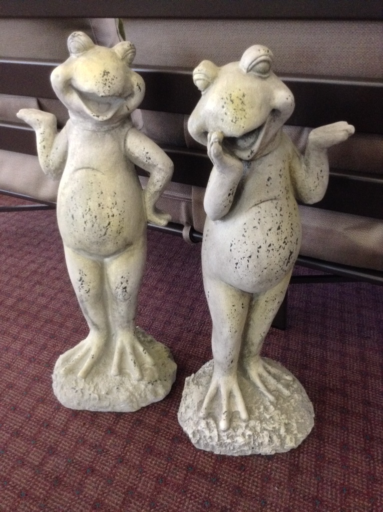"Frog Statues ~ I Got You (Left) Oh How Sweet (Right) H=23.75"" W=10.5"""