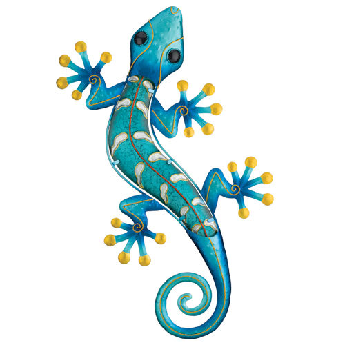 "Gecko Blue Metal & Glass L = 18"" W = 11"""