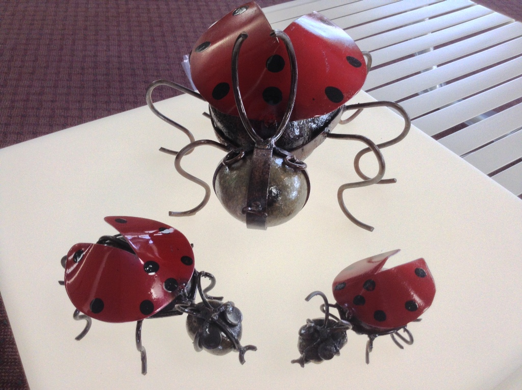 Lady Bugs ~ Metal and Stone