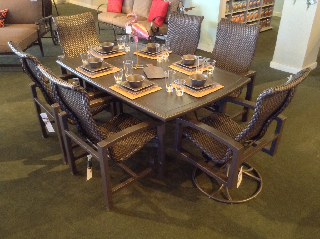 Lakeside Woven Dining Set with Cabretta Dark Chocolate Dining Table