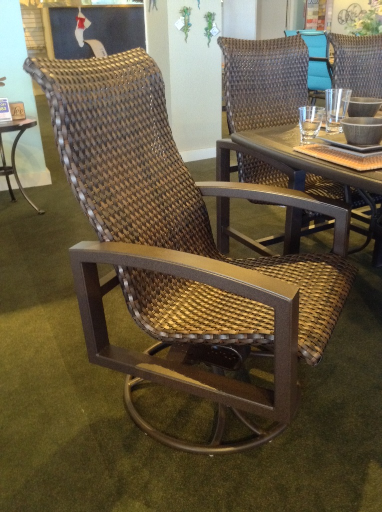 Lakeside Woven High Back Dining Swivel Rocker Chair