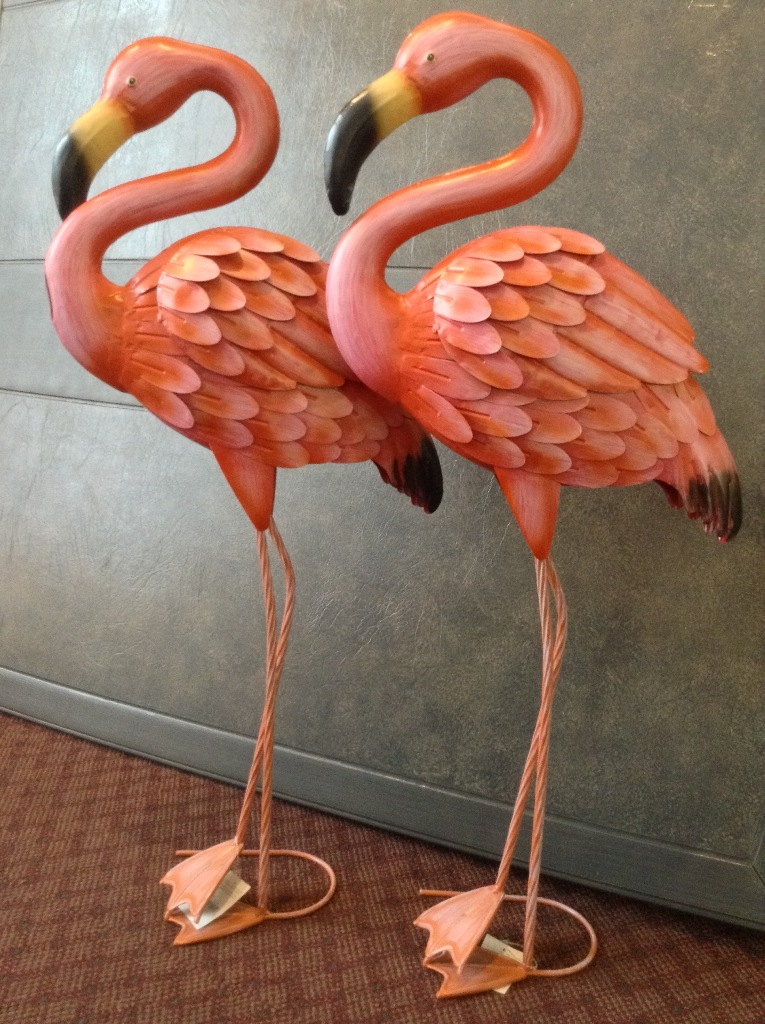 "Large Metal Flamingos 33"" H x 15"" L"