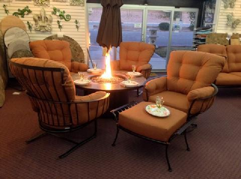 Monterra Club Chairs with Santorini Chat Height Fire Table