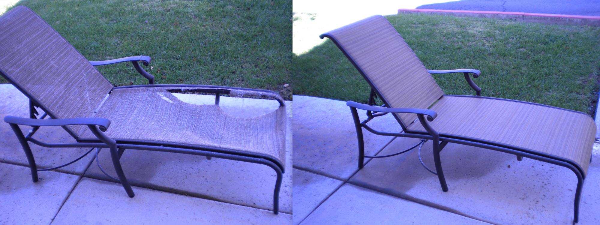 Tropitone Montreux Chaise Sling Installation ~ Before & After