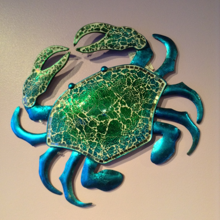 "Mosaic Blue & Green Crab ~ Metal & Glass W=18.25"" H=15.5"""