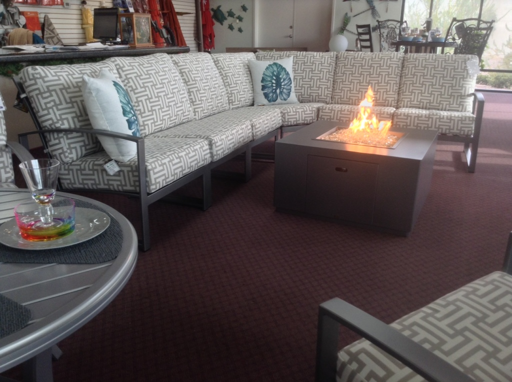 Pacifica Sectional shown with Forma Fire Table