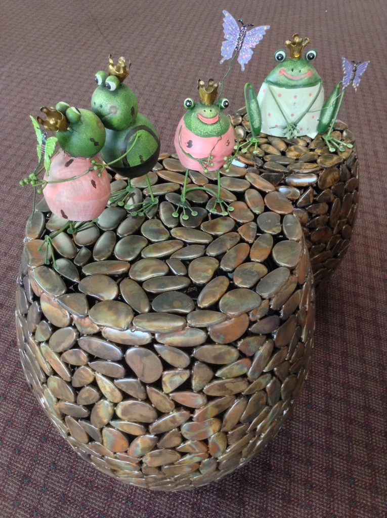 Garden Stool Set and Rustic Frogs