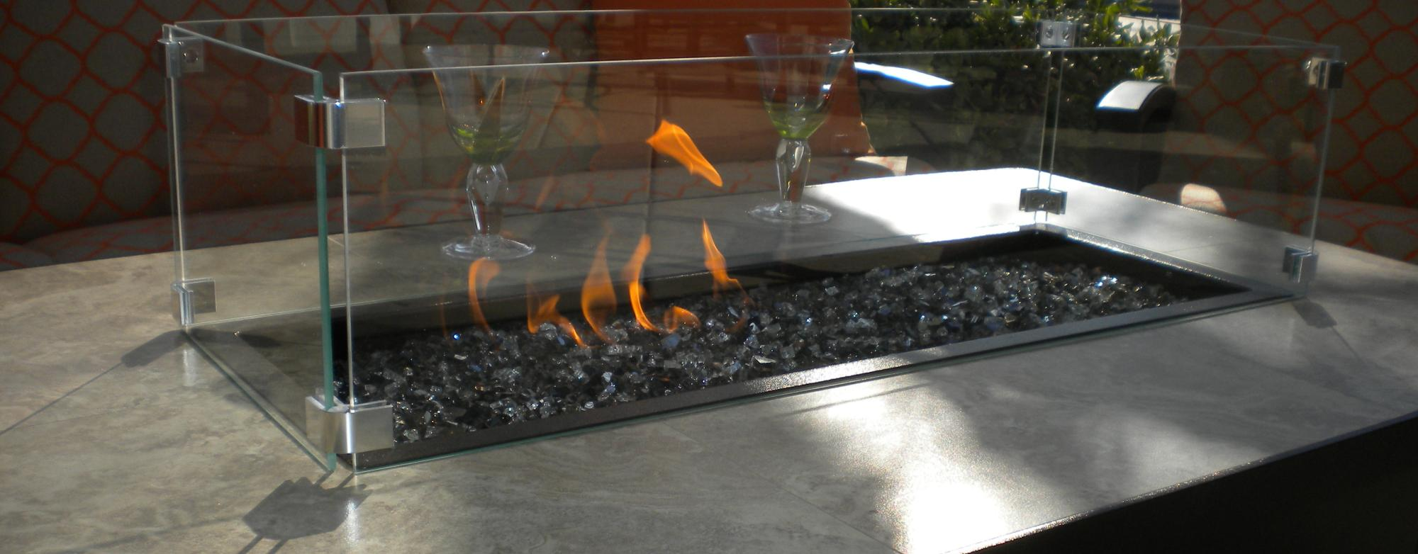 Rectangular Fire Table & Glass Guard