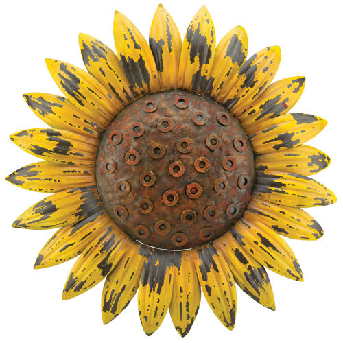 Rustic Sunflower Metal Wall Decor D = 18""
