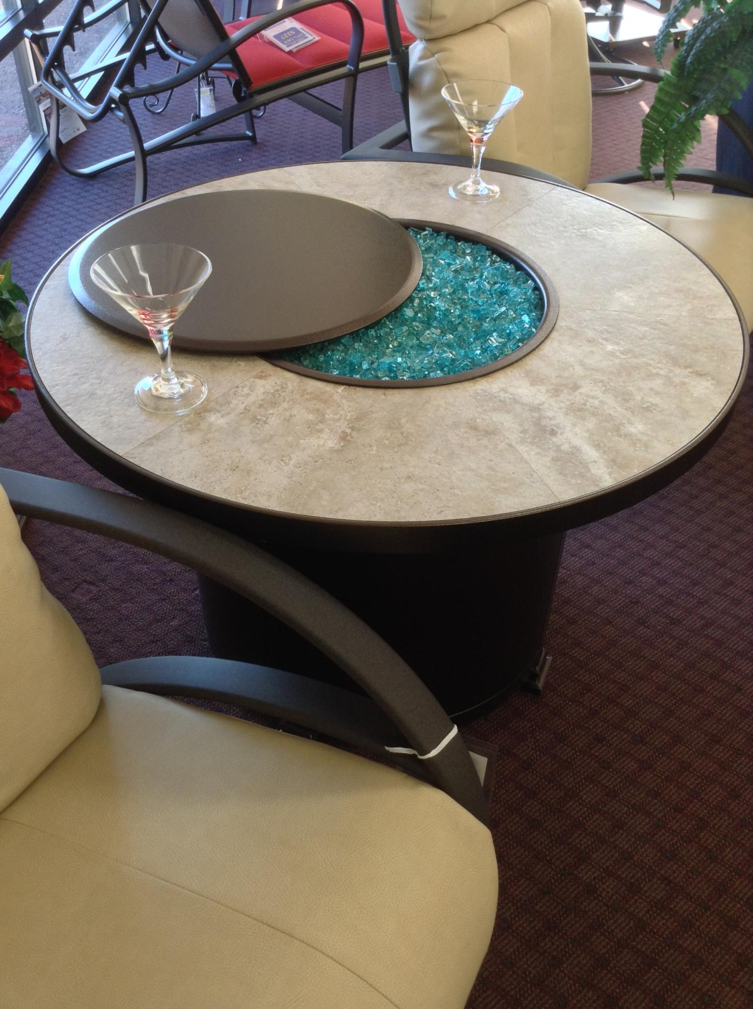 "Capri 36"" Round Chat Fire Table H=24"" shown with Optional Metal Lid"
