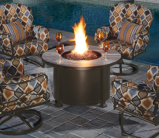 "Santorini 42"" Round Reclaimed Wood Tile Fire Table D=42"" H=24"""