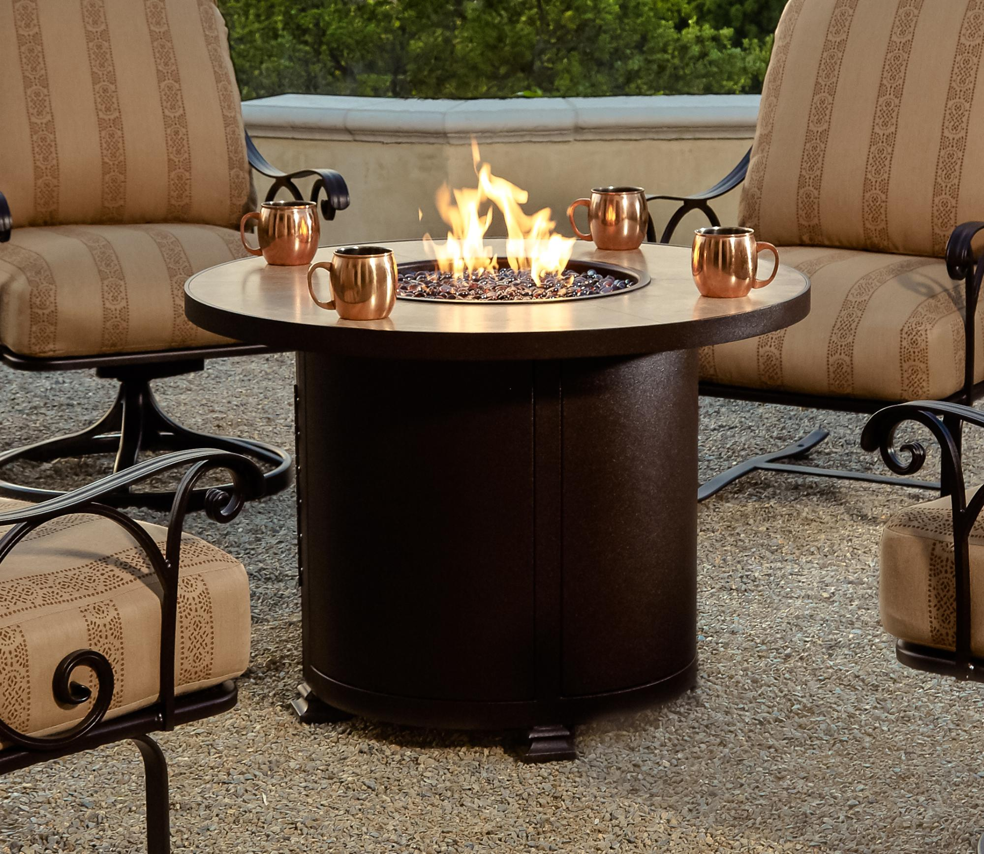 Santorini Chat Height Fire Table  D=36 H=24""