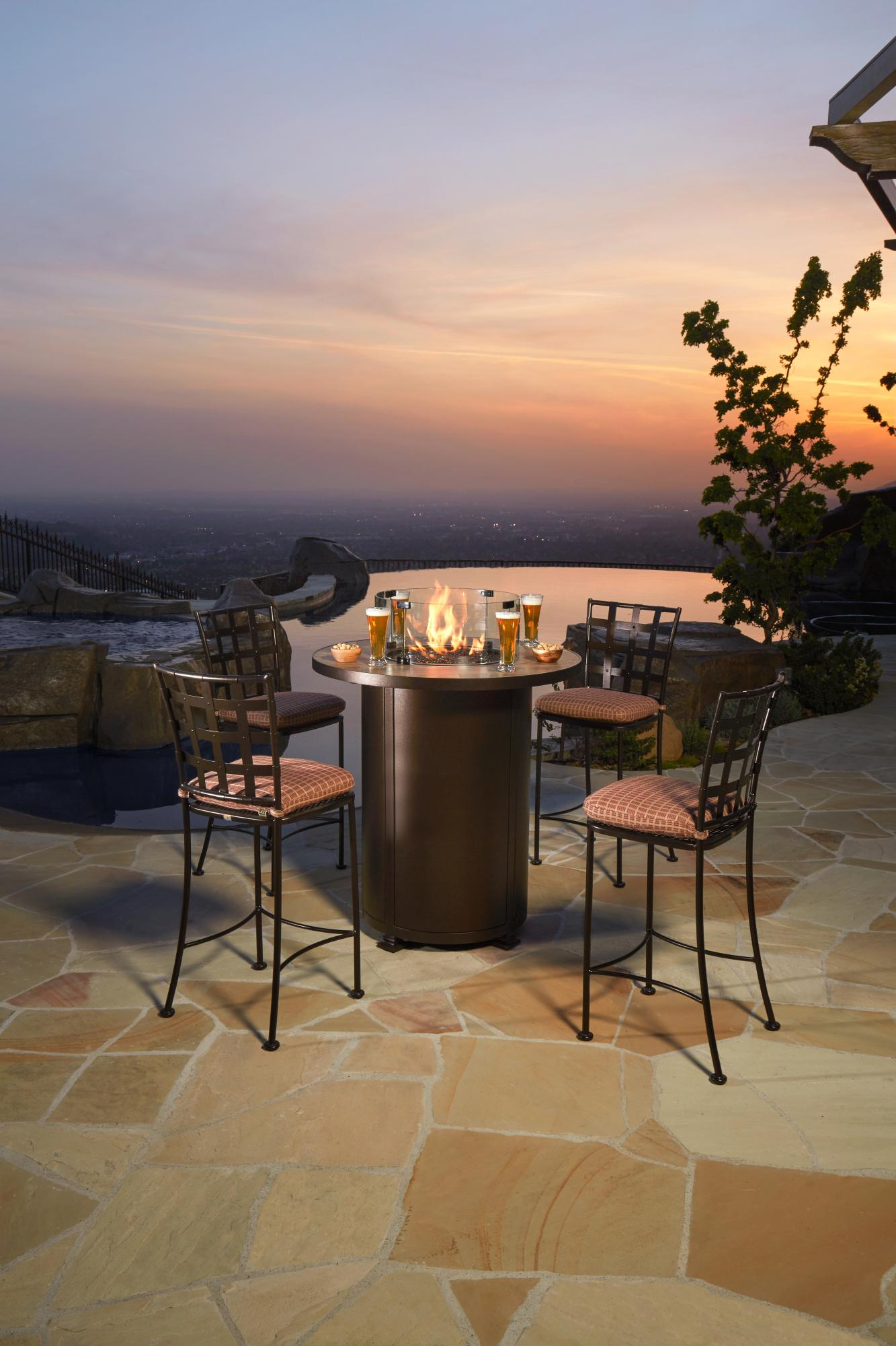 Santorini Counter Height Fire Table  D=36 H=38""