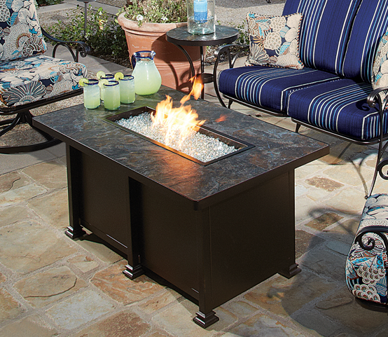 Santorini Rectangular Azul Tile Chat Fire Table