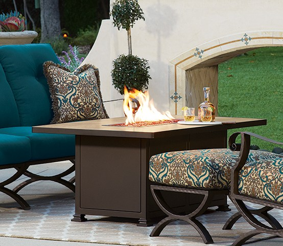 "Santorini Rectangular Fire Table W=30"" L=50"" H=24"""