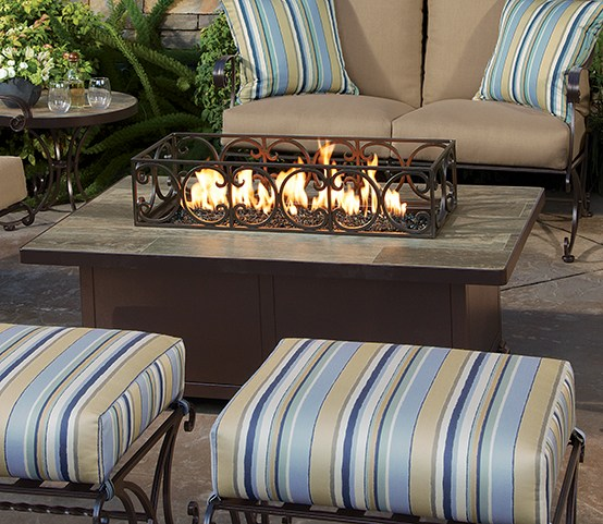 "Santorini Rectangular Fire Table & Optional Metal Guard W=30"" L=50"" H=24"""