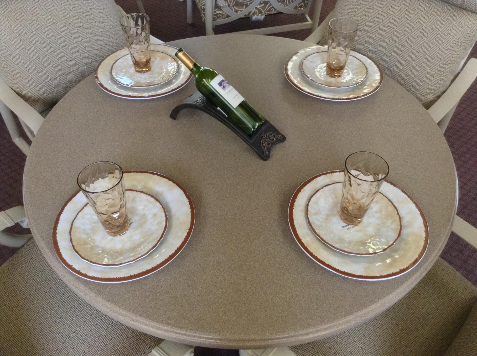 Tuscan Farmhouse Solid Cream Melamine Tableware & Acrylic Bronze Glasses