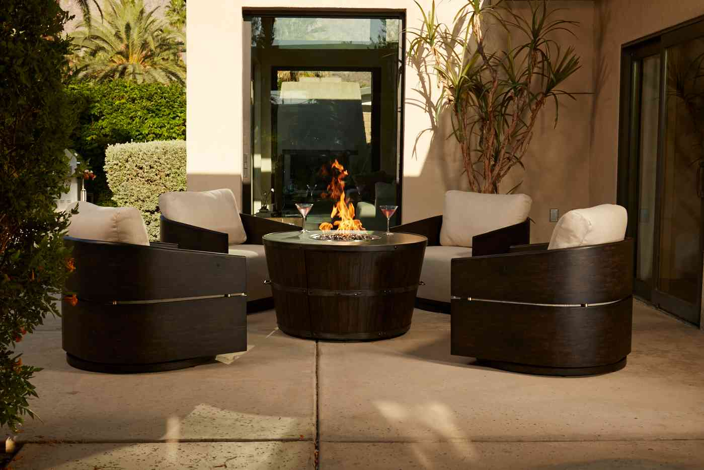 Tribeca Swivel Lounge Chairs and Fire Table
