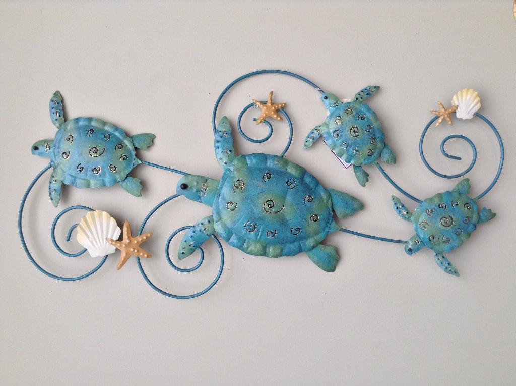 "Turtle Family with Seashells W=31"" H=14"""