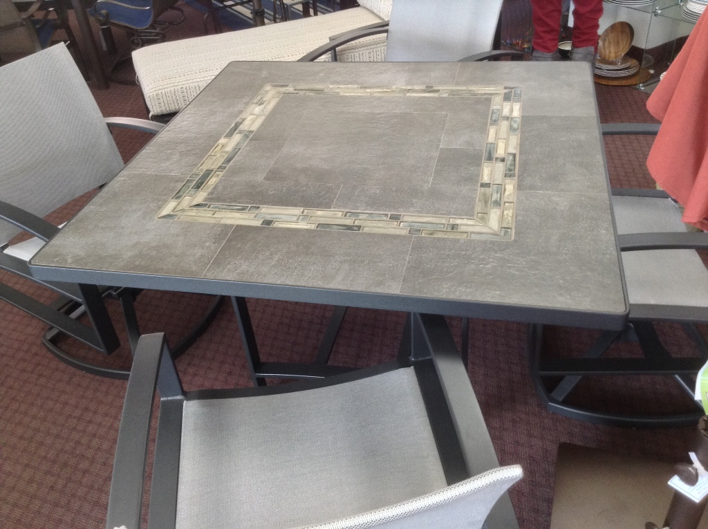 "Urban Effects ~ Rio Fresco Glass Crane Tiles 48"" Square Dining Table"