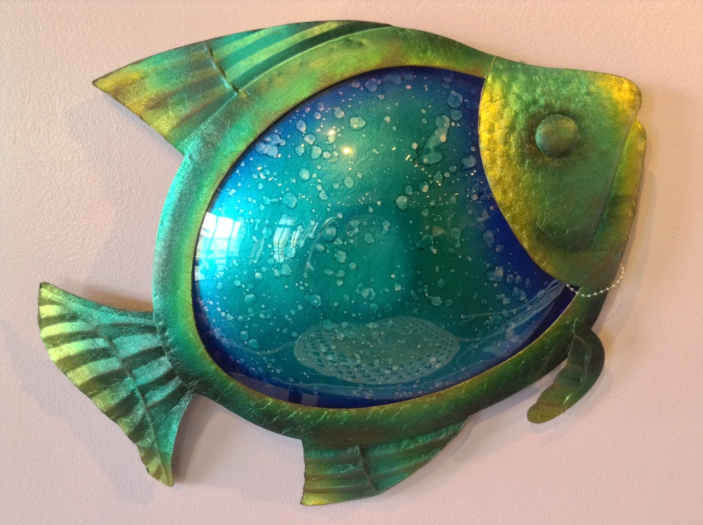 Watercolor Blue Fish ~ Metal & Glass