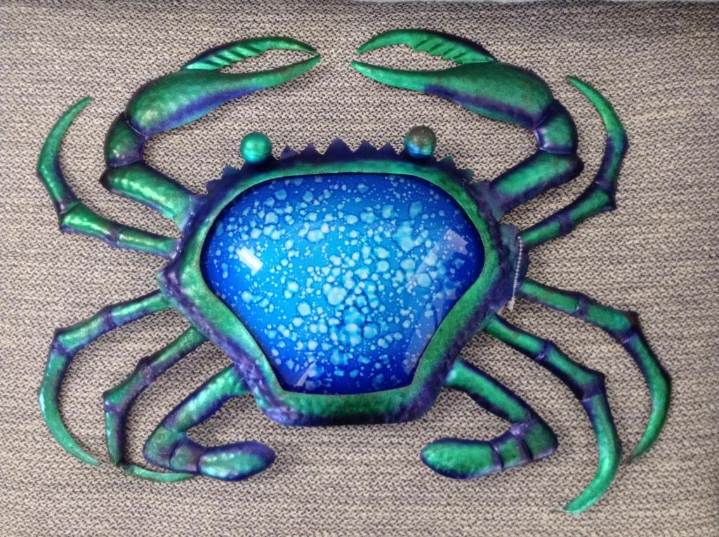 "Watercolor Crab  Metal & Glass Wall Decor W = 19"" H = 16"""