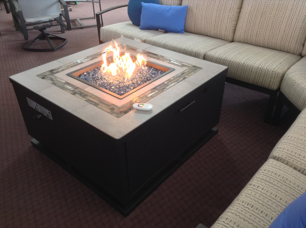 "Zen 42"" Square Fire Table with Led Lighting"