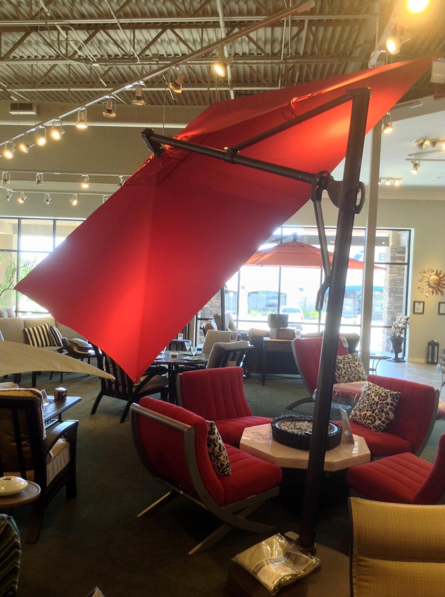 10 Ft. Square Cantilever Umbrella Tilted At 36 Degrees
