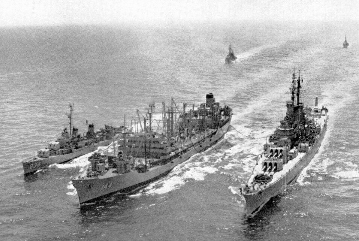 DD839 refueling along side AO144 USS Mississinewa - undated