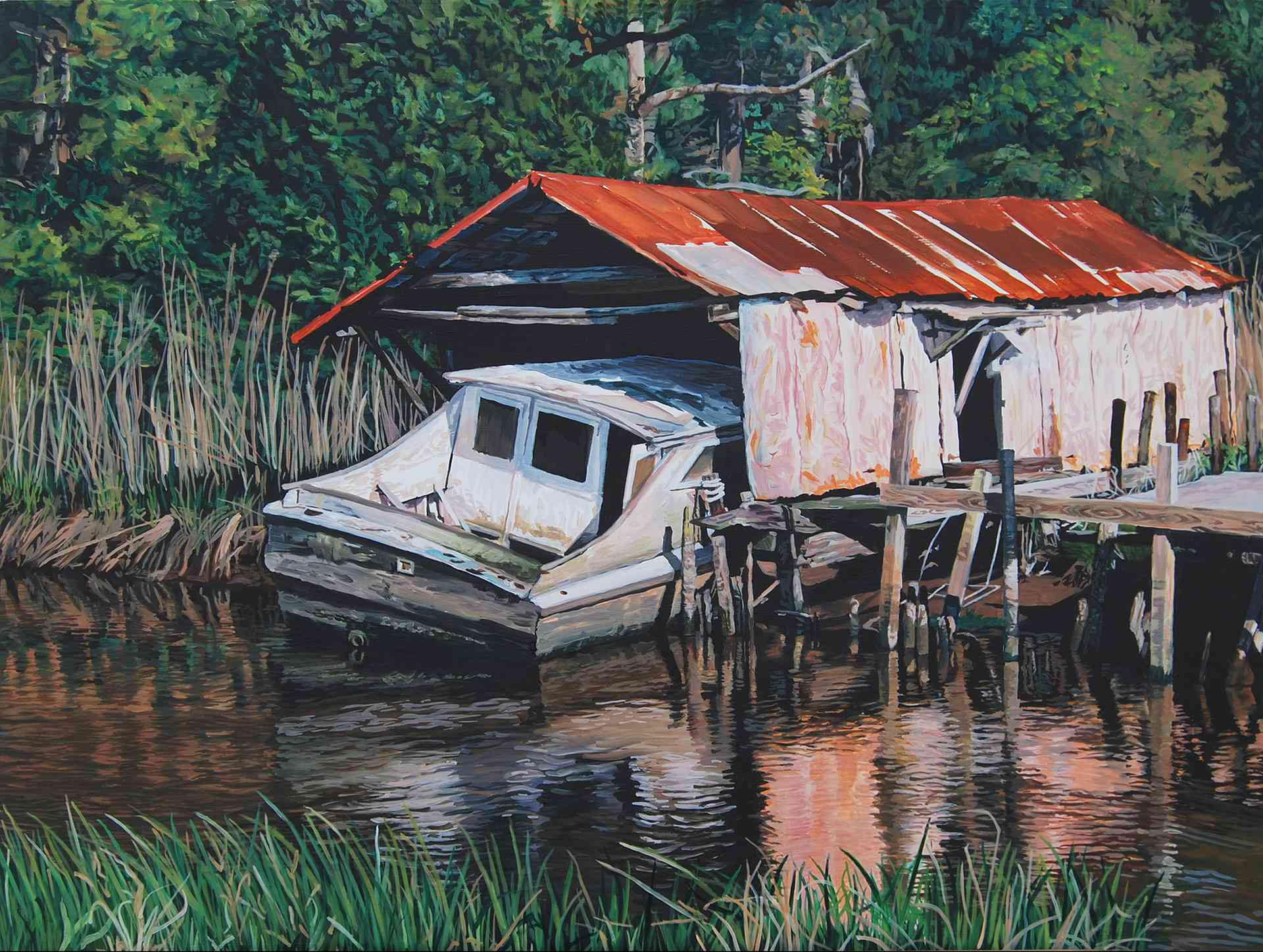 """Broken Boat"" (24 x 32) $800 oil on wood panel"