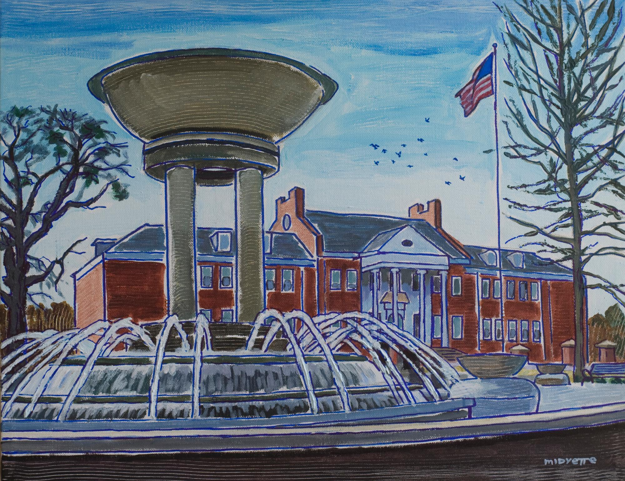 """Cary Fountain and Arts Center"" (14 x 18)  sharpie and acrylic on canvas"