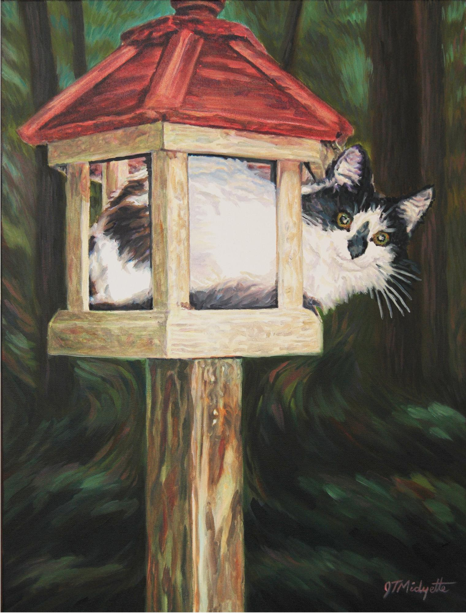 """Cat in Birdhouse"" (18 x 24) oil on canvas"