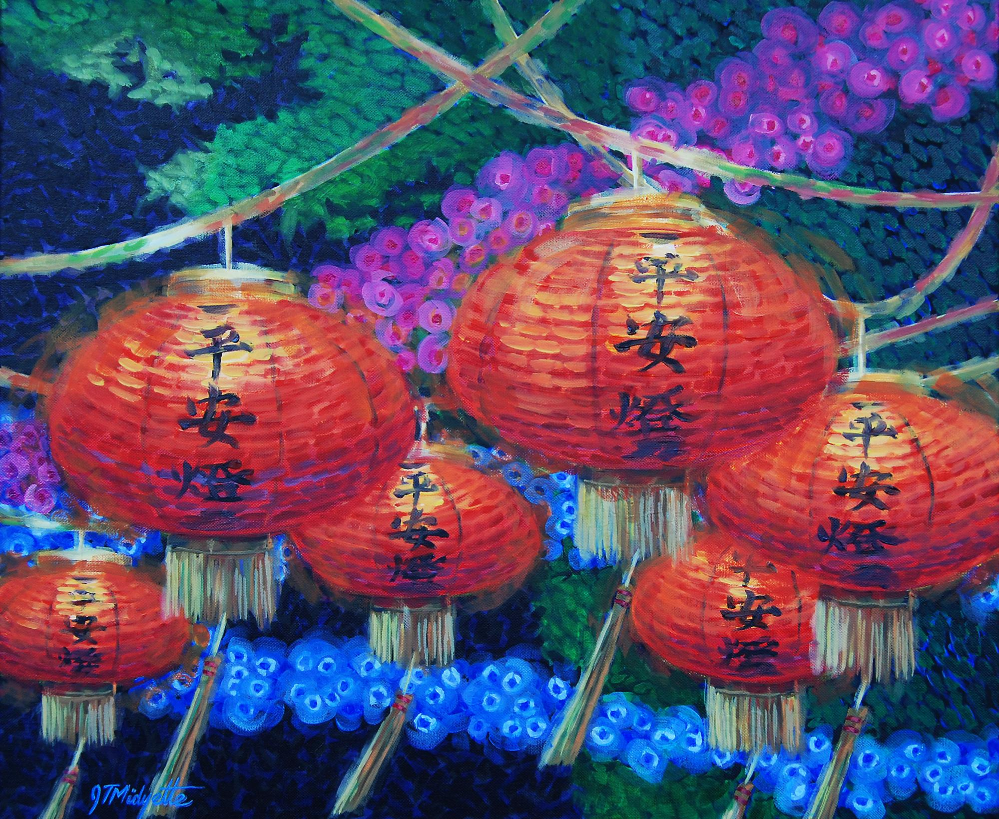 """Chinese Lanterns"" (20 x 24) acrylic on canvas $800"