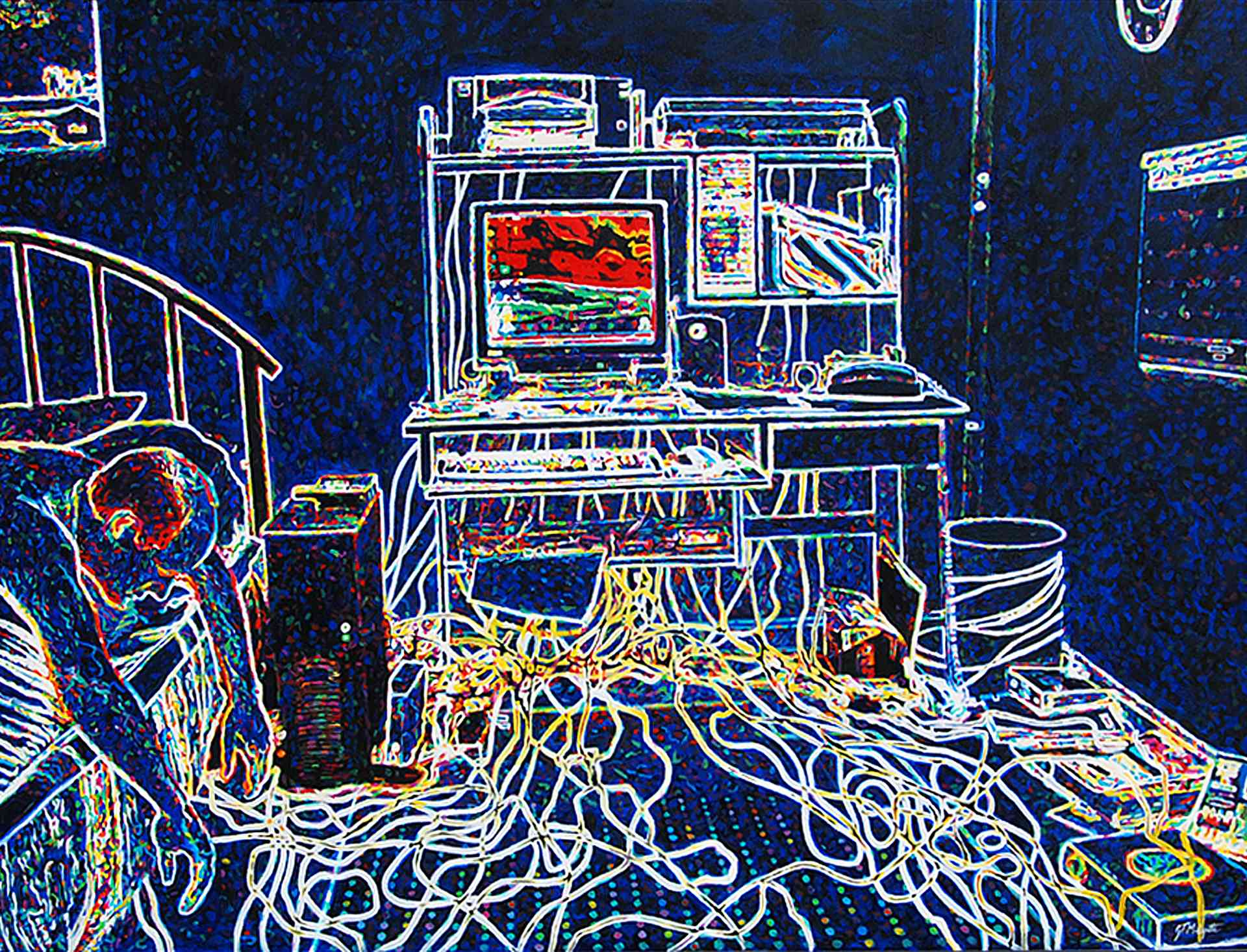 """Computers and Wires"" (30 x 40) $700 oil on canvas"