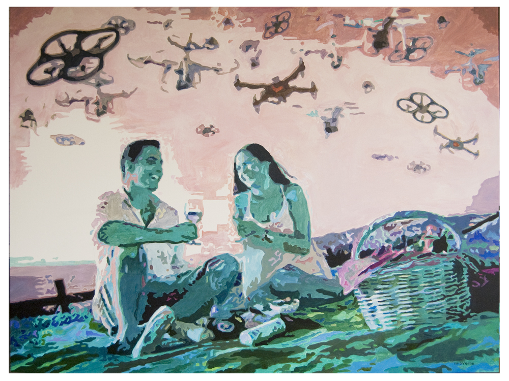 """Drone Picnic"" (36 x 48) $600 acrylic on gallerywrap canvas"