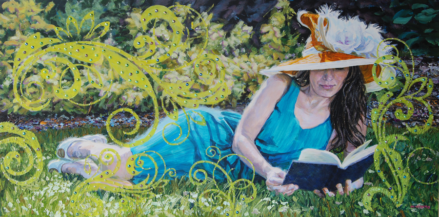 """Girl Reading"" (2' x 4') $650 acrylic on wood"