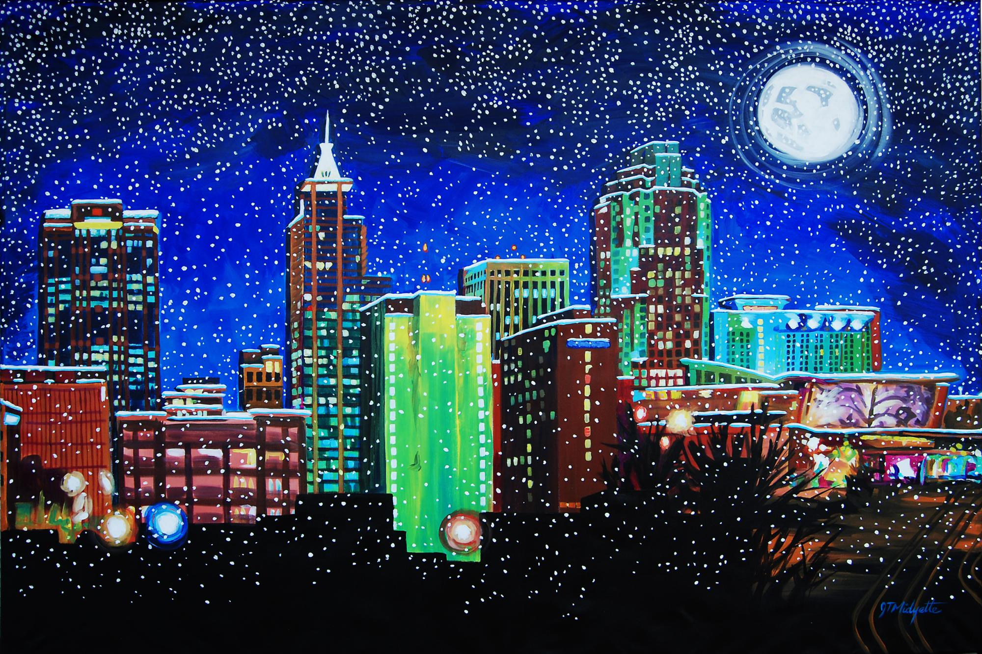 """Raleigh in Winter"" (48 x 72) acrylic on canvas"