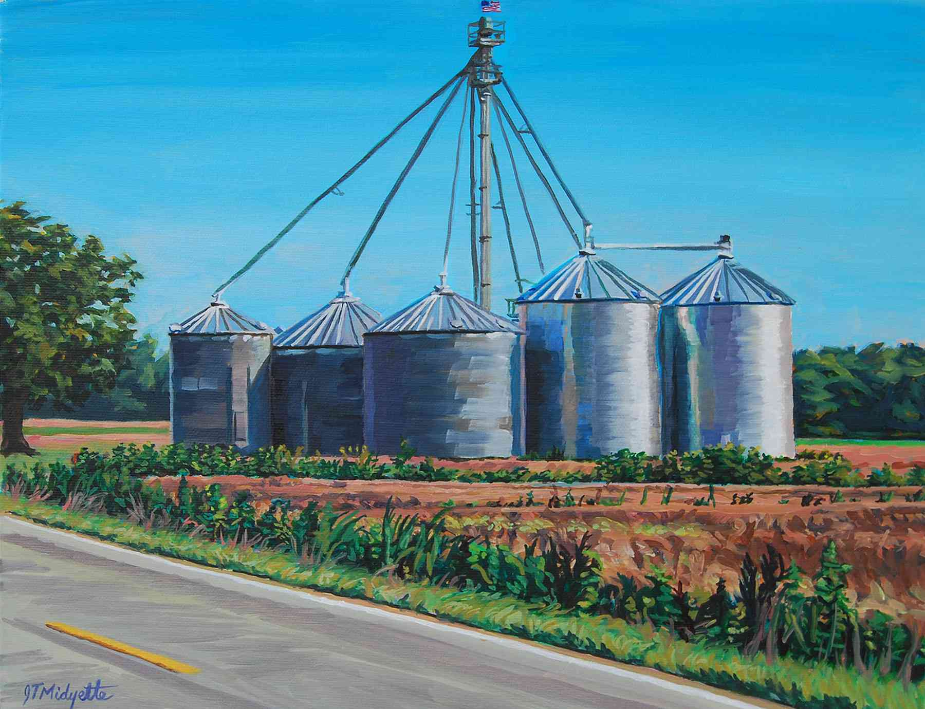 """Silos"" (11 x 14)  $350 oil on canvas"