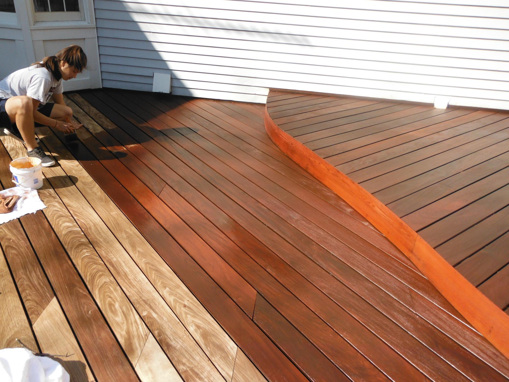 Sealing deck with IPE oil