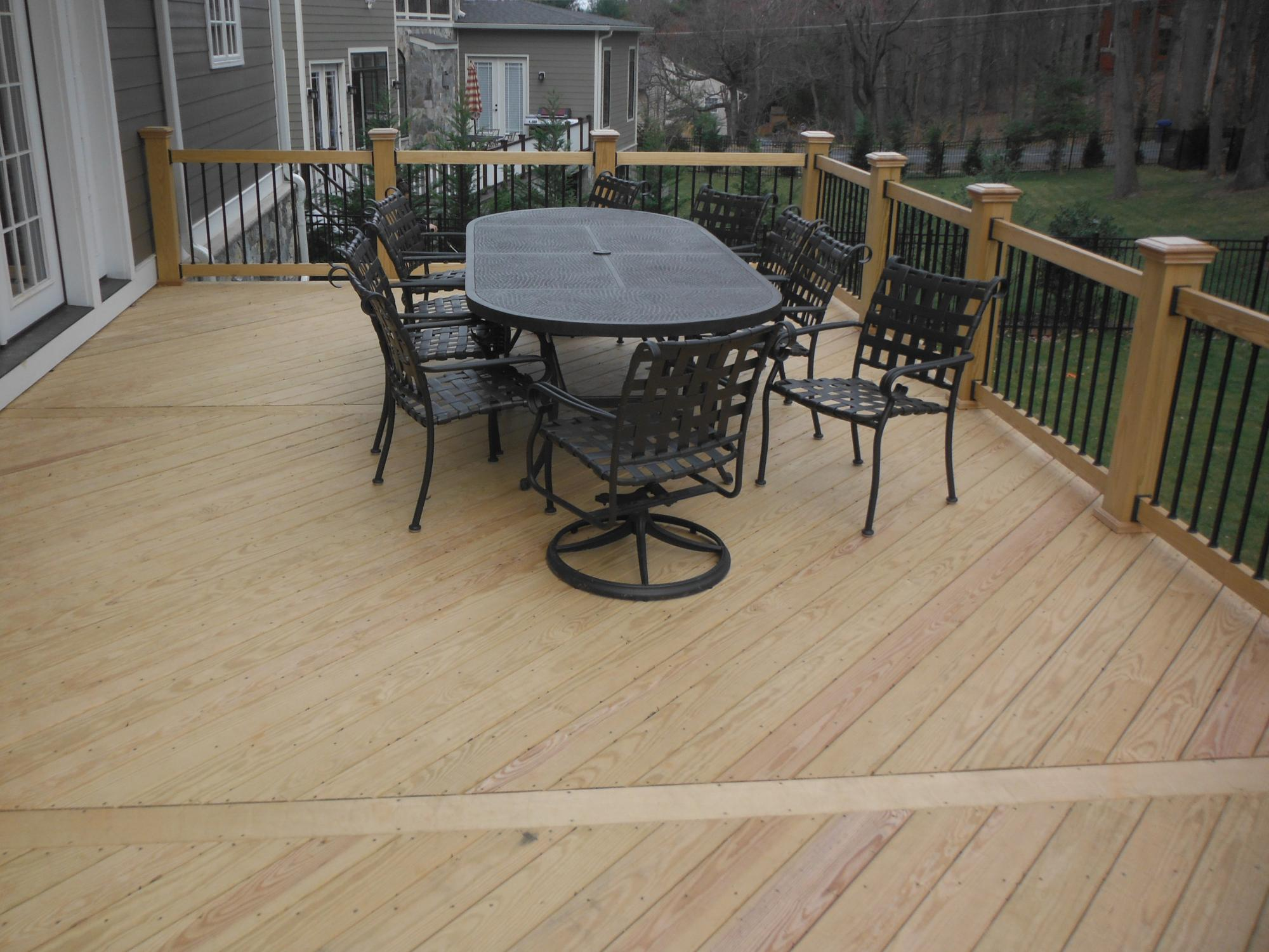 Deck is white pine