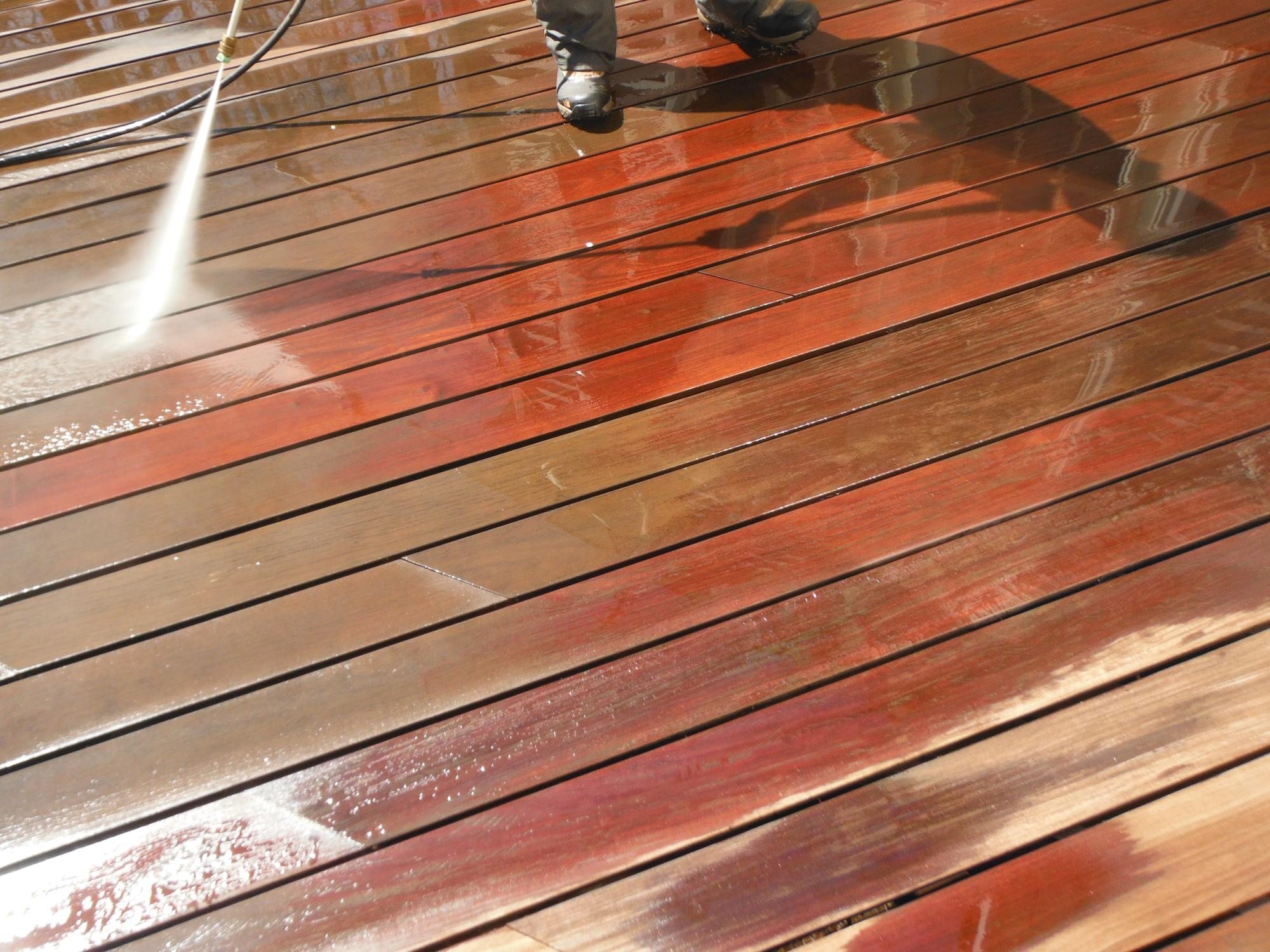 Power washing IPE deck