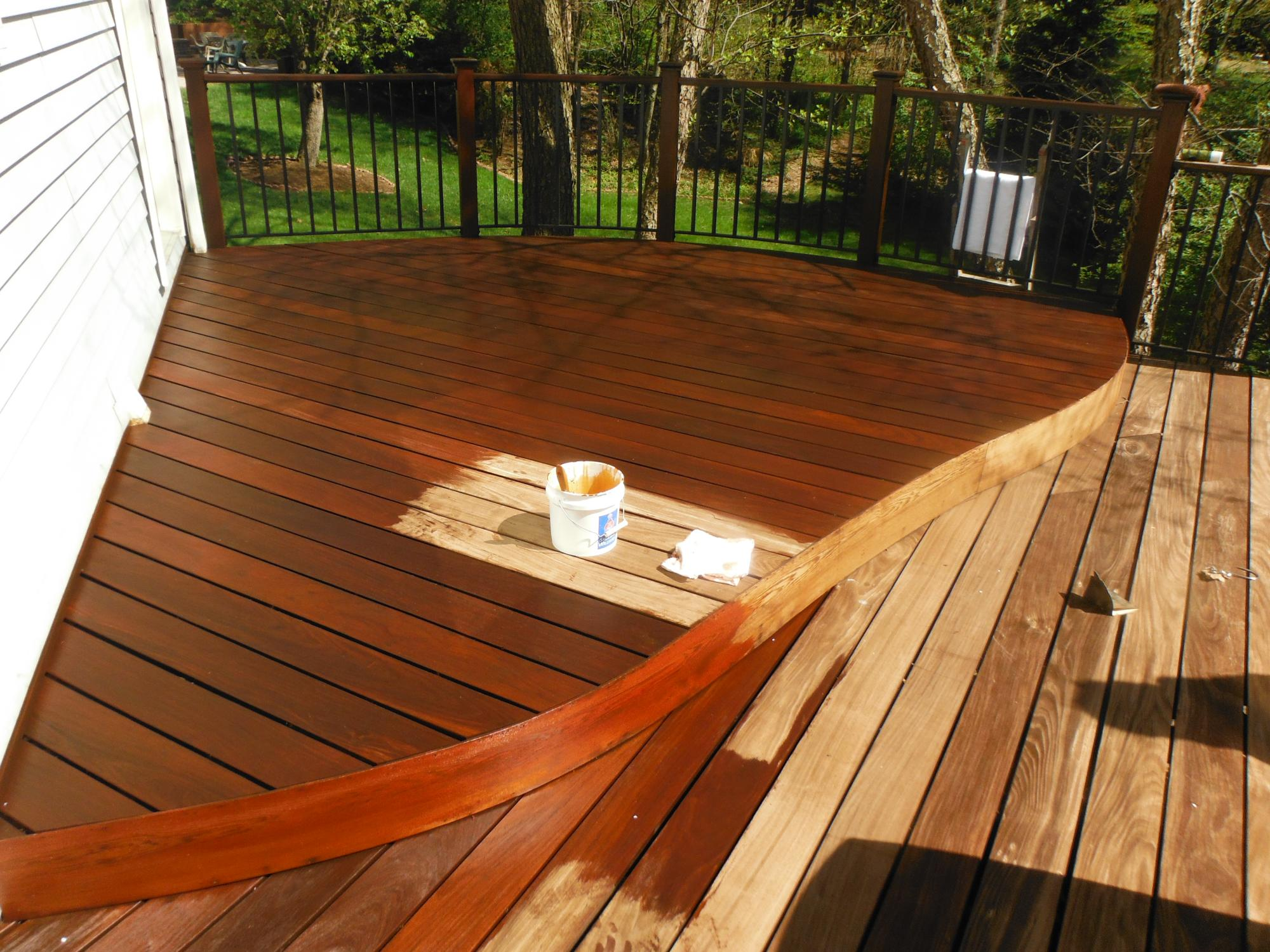 Sealing IPE deck with brush