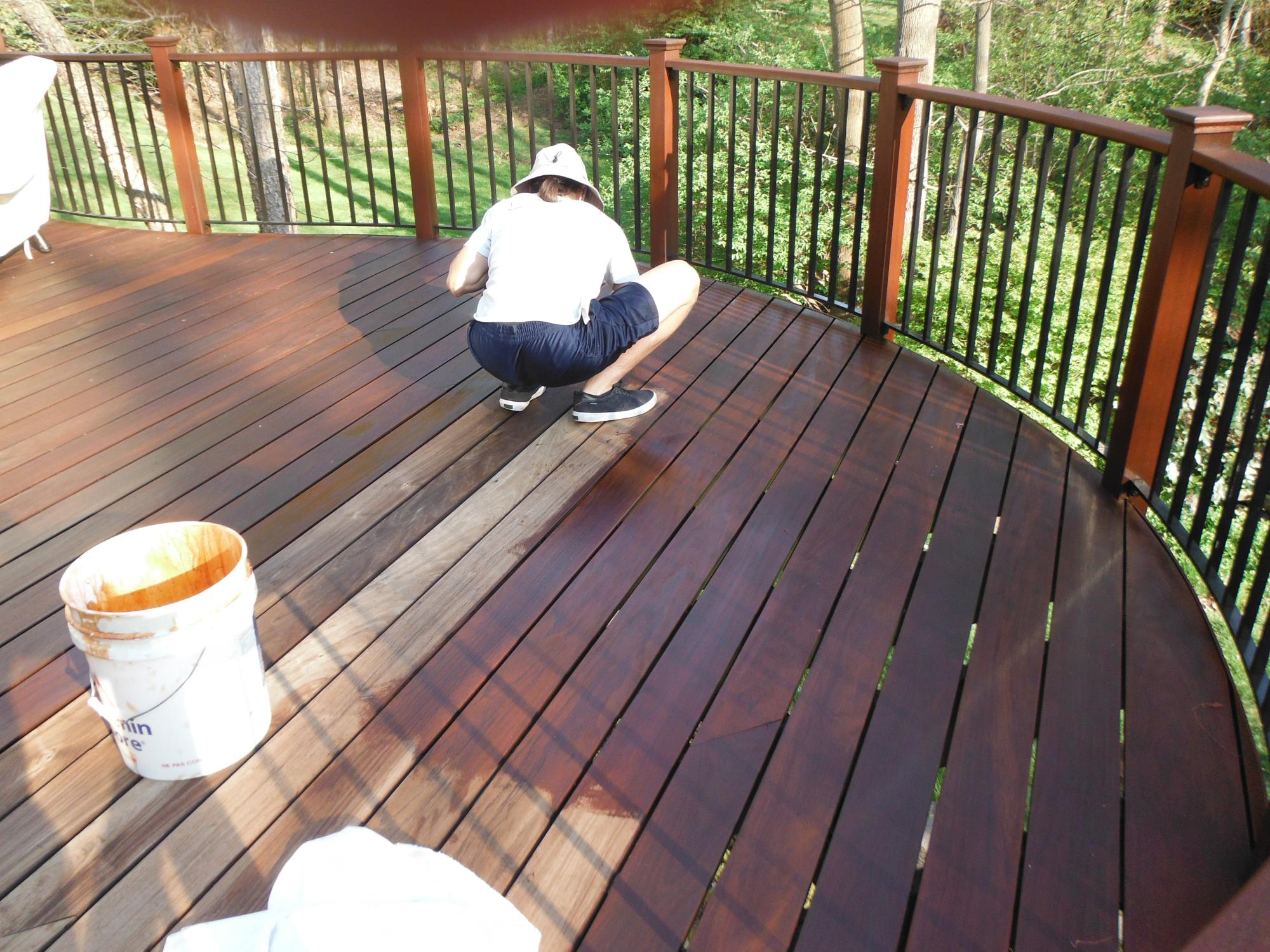 Brushing IPE deck