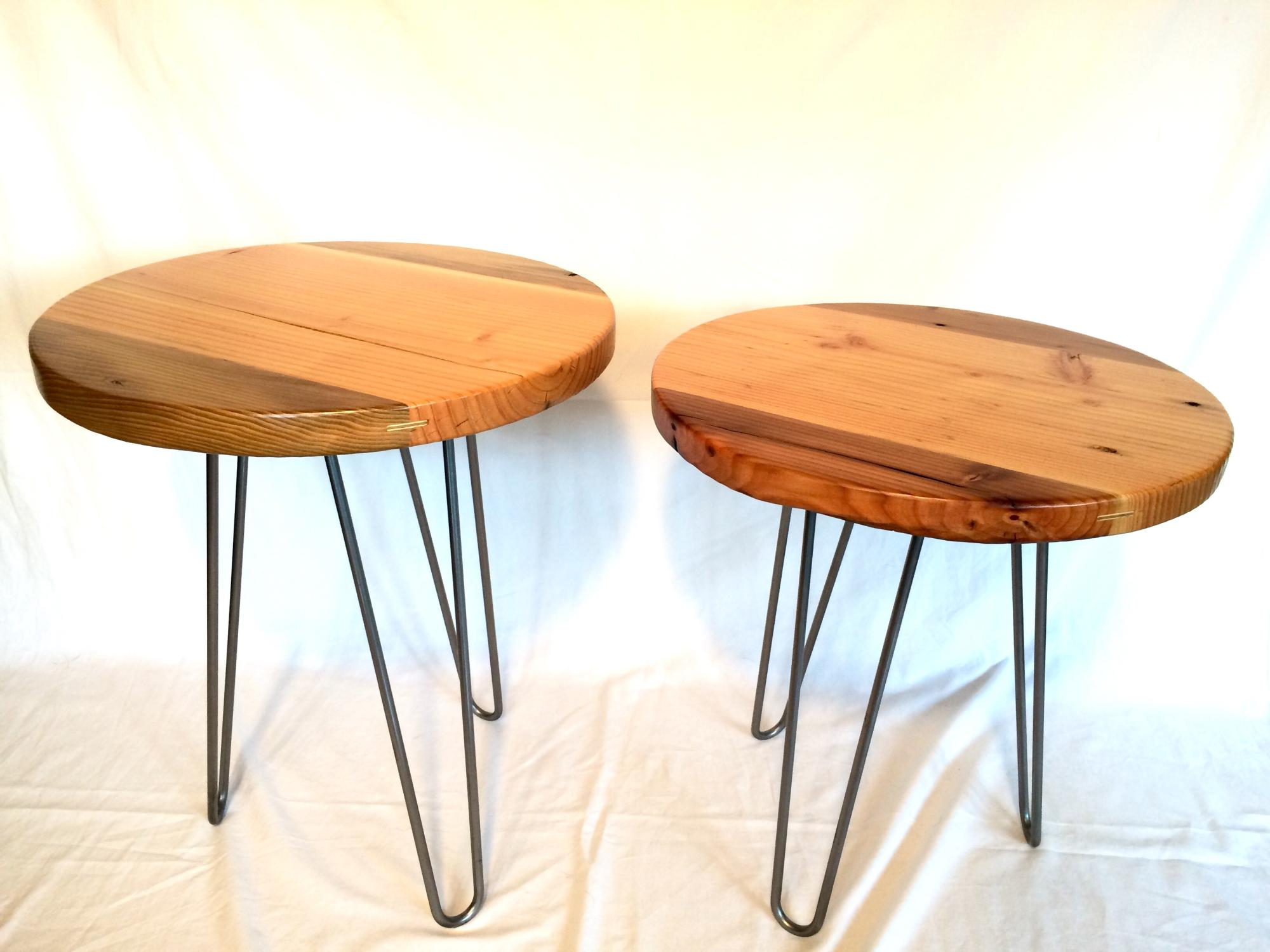 Drift lumber classic round tables w/steel hairpin legs.  19Dx19&21H  $225ea