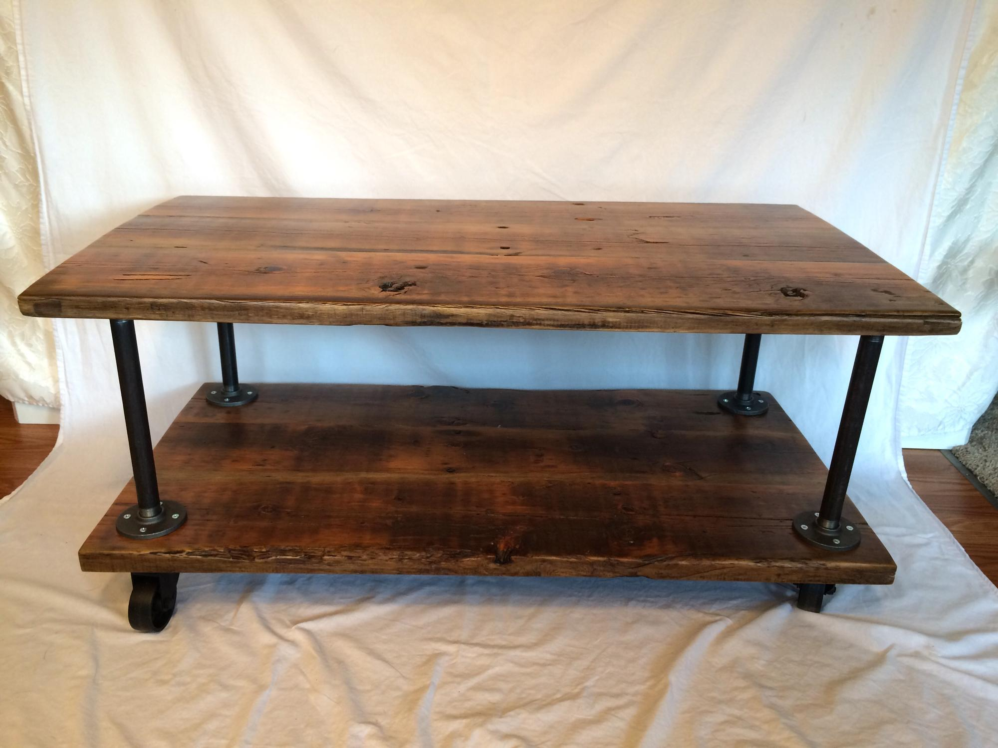 Old growth Douglas Fir industrial two tier coffee table. L42xW22xH19 $425