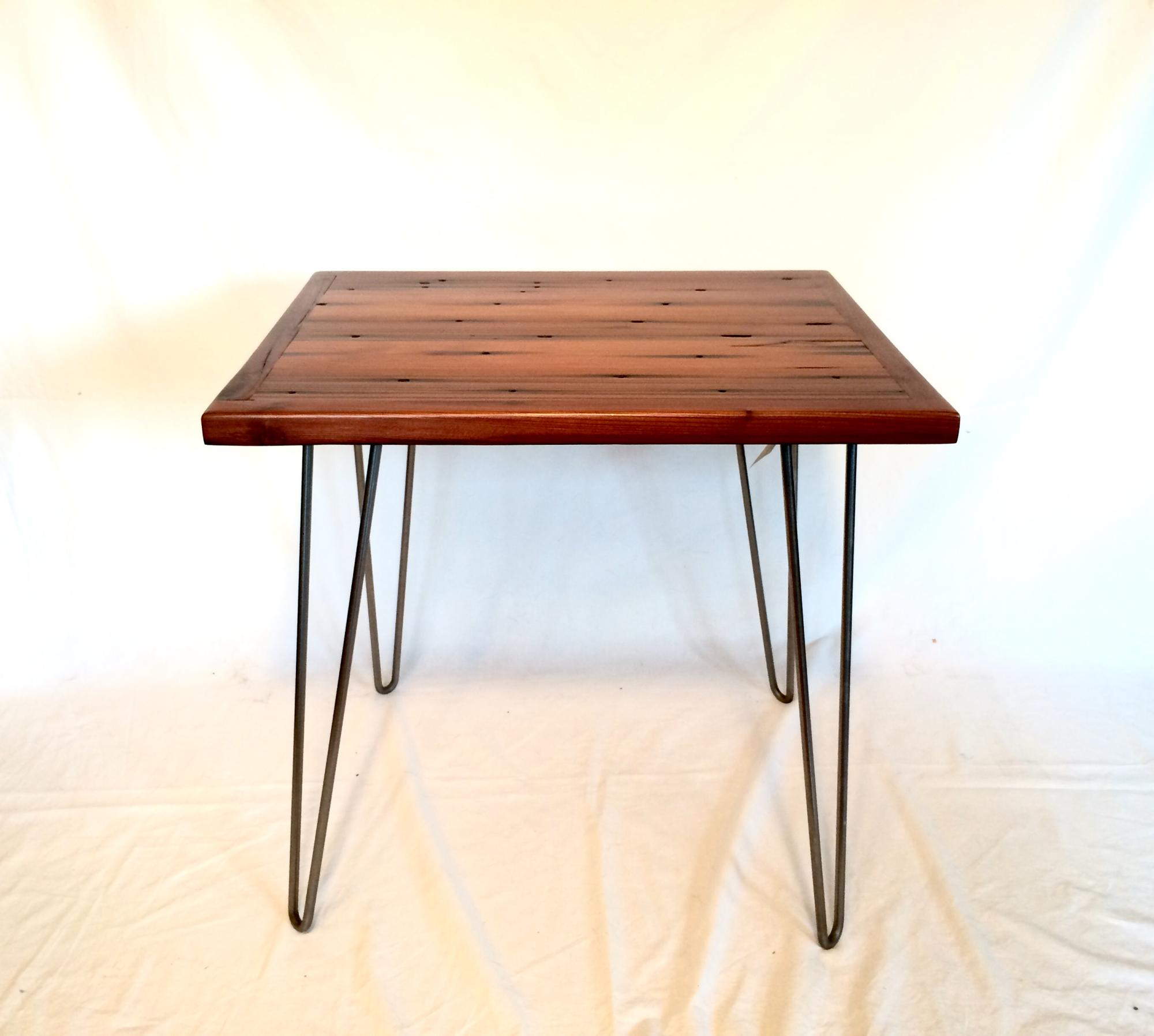 Redwood drift lumber accent or end table w/steel hairpin legs.  22.5Lx18.5Wx21H  $250