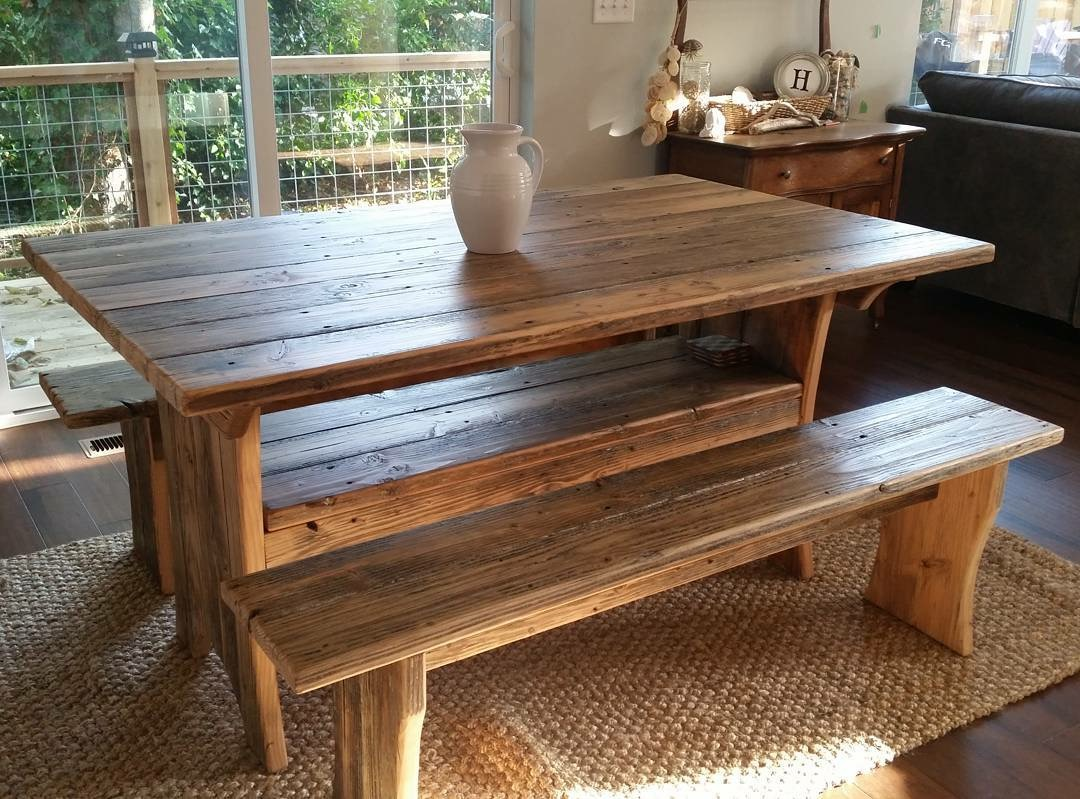 Douglas Fir dock wood table with storage & benches $850