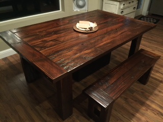 Rough cut Douglas Fir dining table with (2) benches from a salvaged river log. 6'x4' $1200