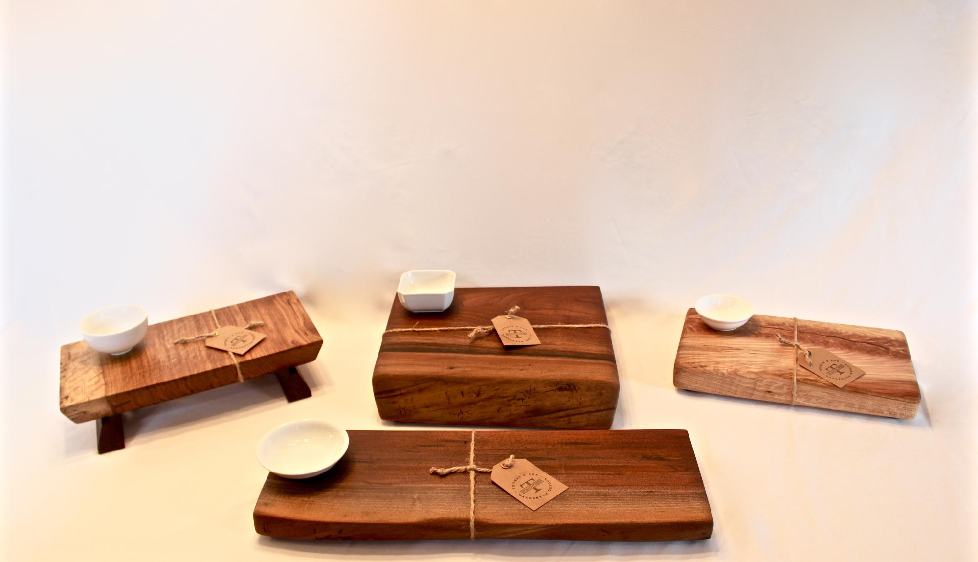 Hardwood cutting board/serving blocks with dipping bowls. $45-$95